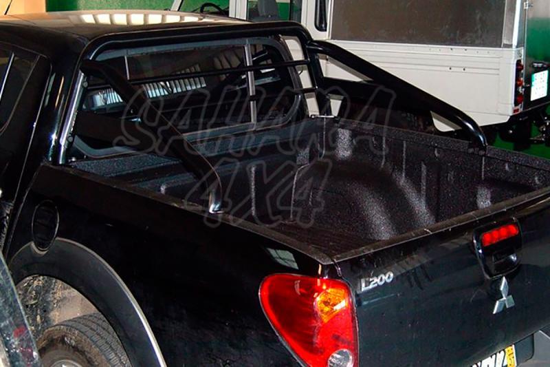 Rollbar en tubo negro, con traviesa lateral, con protección de cristal de cabina para Mitsubishi  - Para Mitsubishi L-200 Triton  2006-2015 (Doble cabina)