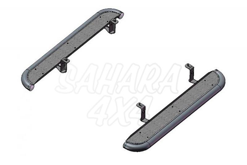 Estribos en plataforma de aluminio con tubo inox AFN para Mitsubishi L-200 Triton 2006-2009 - Para Extra cabina