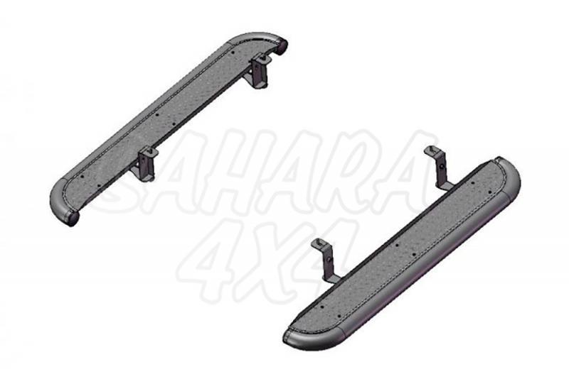 Estribos en plataforma de aluminio con tubo negro AFN para Mitsubishi L-200 Triton 2006-2009 - Para Extra cabina