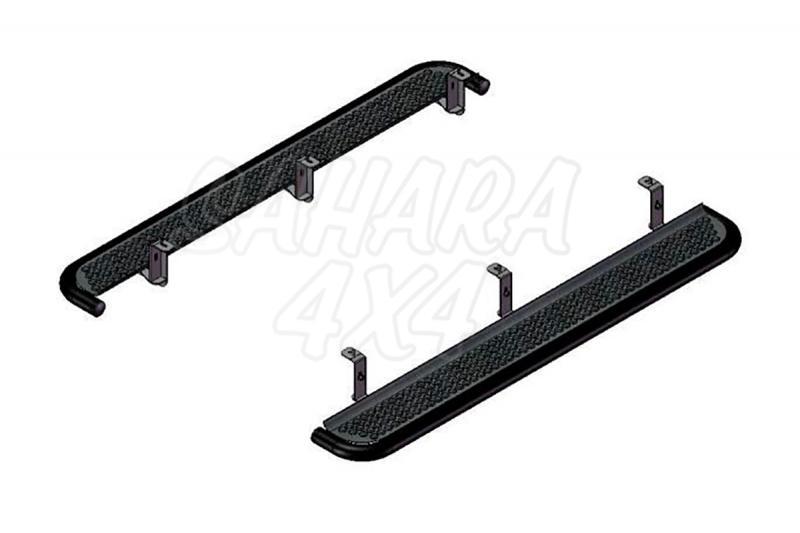 Estribos en plataforma de aluminio con tubo negro AFN para Mitsubishi L-200 Triton 2006-2015 - Aluminio perforado.