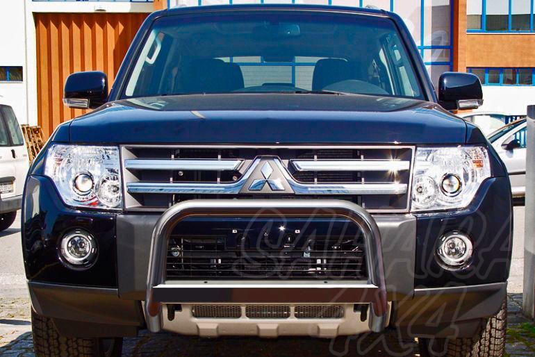 Defensa central inox con traviesa. Homologación CE AFN para Mitsubishi Montero V80 2007- -