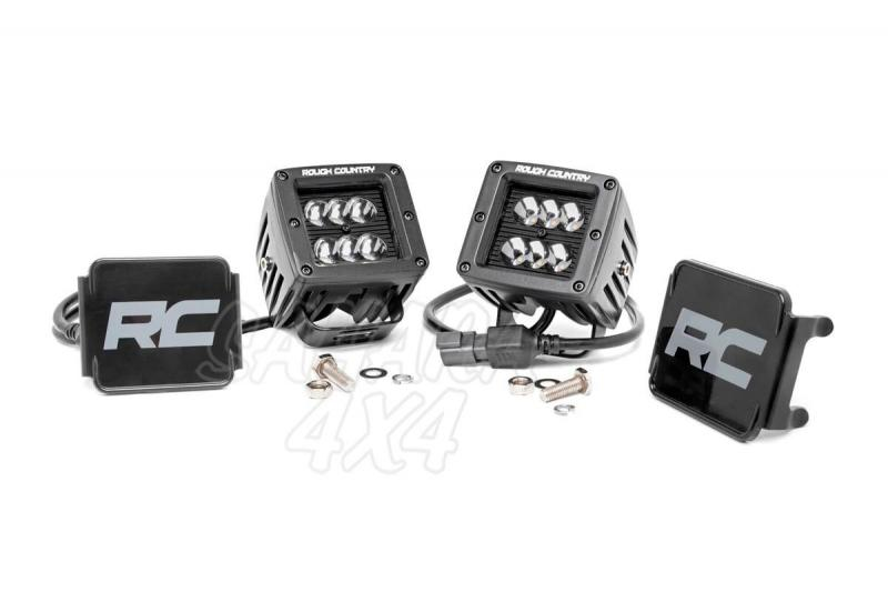Faros Negros de Led Cuadrados Rough Country (Pareja) - Pareja , 36w, 2880 Lumens