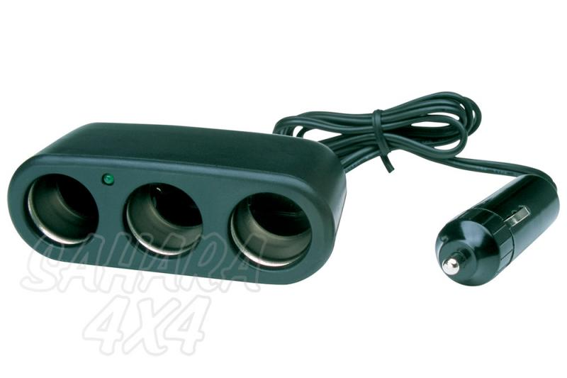 Enchufe triple mechero 12v negro