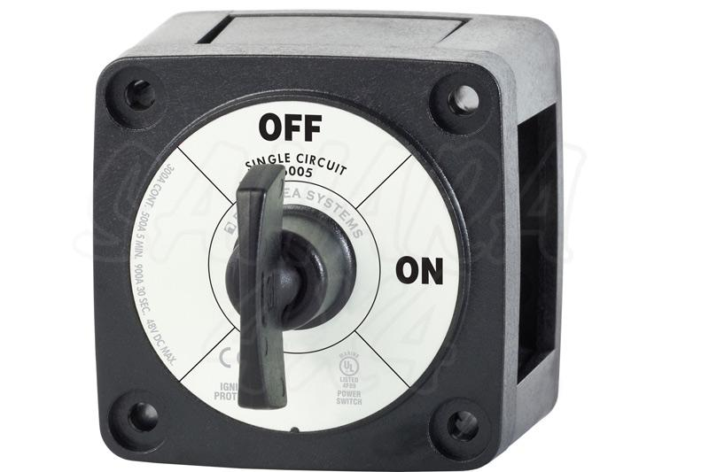 Desconectador de bateria 300 Amp con llave Bluesea. Negro
