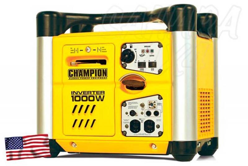 CHAMPION 1000 Watt Generador Inversor ( GASOLINA )  - El generador inversor portátil a gasolina de Champion Power Equipment 71001I-UE, está propulsado por un solo cilindro 50cc CET, motor OHV de 4 tiempos que produce 1000 vatios máx.
