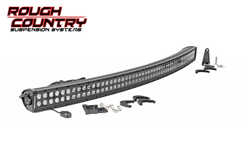 Barra de Led curvada 127 cm Led Cree doble , Rough Country  - Curvada , fondo negro , 288w, 23040 Lumens