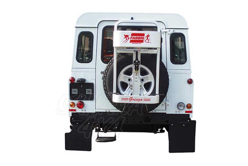 Portaesquís Gringo Ski & Board - Portaesquís para vehículos todoterreno. Colocados sobre la rueda de repuesto trasera.