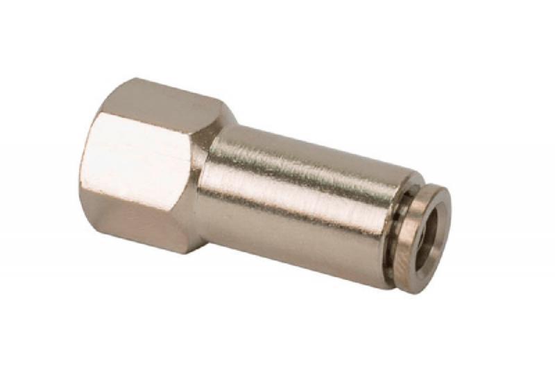 Conector Recto para tubo de 1/4 a rosca de 1/4 HEMBRA