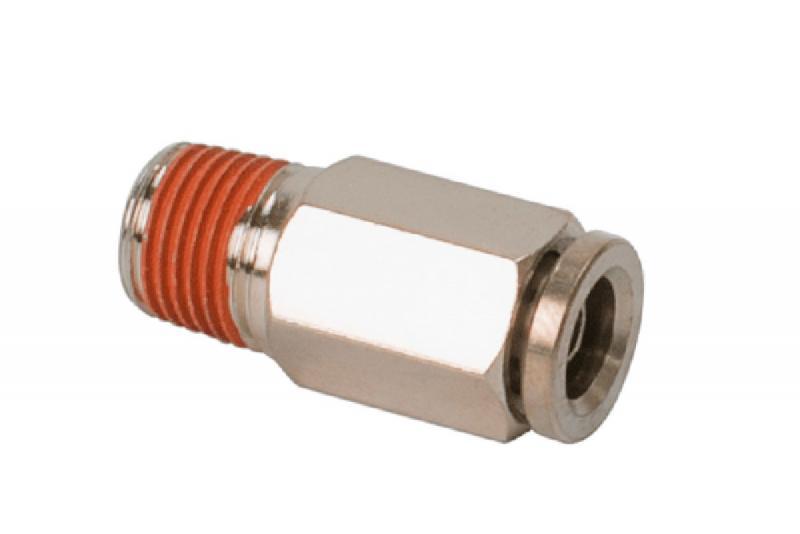 Conector Recto para tubo de 1/4 a rosca de 1/4 macho