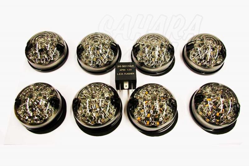 Luces delanteras & traseras LED 73mm , para Land rover Defender - Lamparas delanteras y traseras LED con diseño tipo original. Ahumados