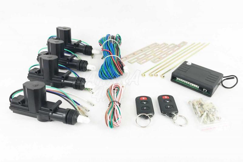 Kit cierre centralizado universal con 2 mandos y 4 motores - Cierre centralizado universal para 4 puertas para coches 12v