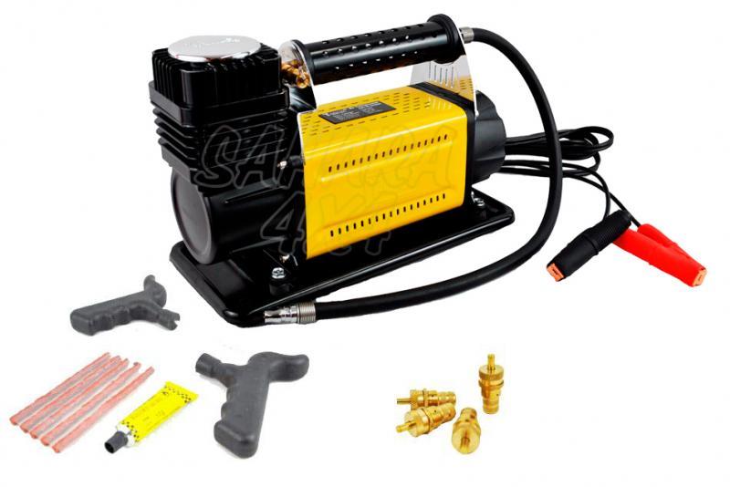 Compresor portatil TMAX+ Reparapinchazos + Desinfladores - Pack compresor T-MAX 160 L/min + Reparapinchazos Basic + Desinfladores eco
