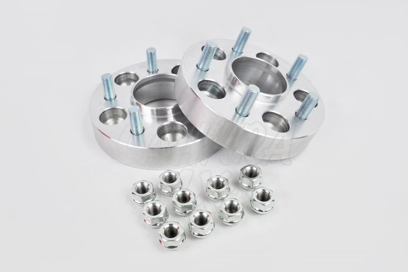 Pareja de Separadores en Aluminio para Kia Sportage (2005-) - Kit de 2 Separadores 5x114,3. Medidas: Delante 30mm, Detrás 30mm.