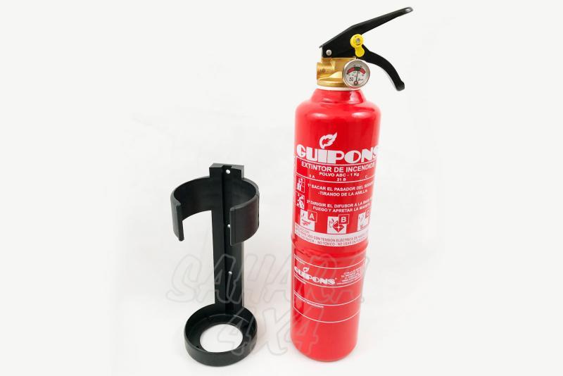 Extintor 1KG - Tamaño compacto, incluye con soporte para instalacion.  1 kg polvo ABC HOMOLOGADO CE.
