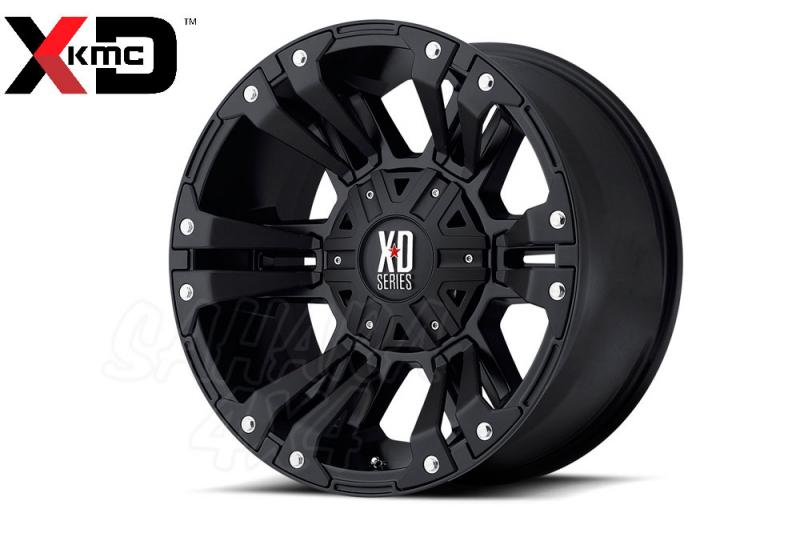 17x9 KMC XD822 Monster II Wheel ET 30 6x114.3 Negro Satinado - Incluye tapa