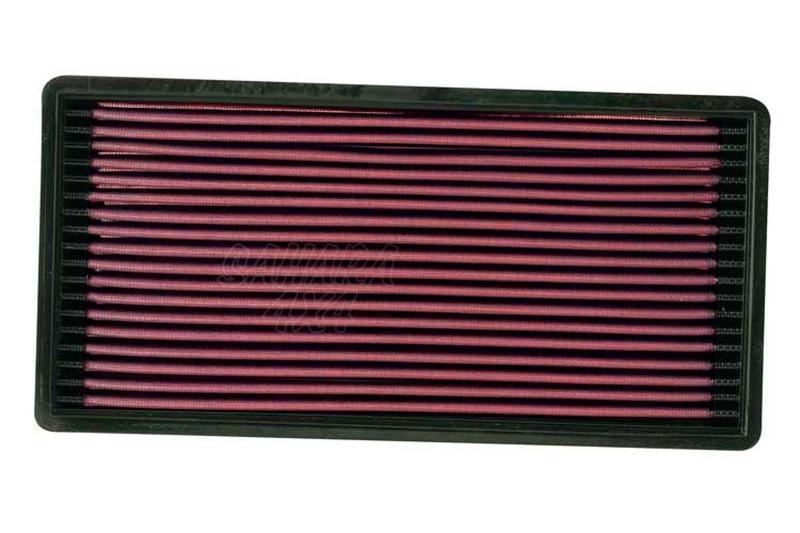 Filtro K&N Air Filter para reemplazo Jeep Cherokee 2.5 Gasolina; 4.0 Gasolina 88-95 - K&N 33-2018: Alto 4 cm x Largo 34 cm x Ancho 16.7 cm.