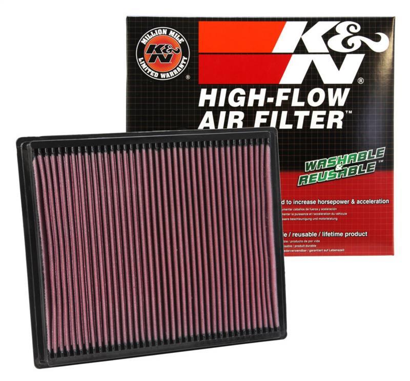 Filtro K&N Air Filter para reemplazo Nissan Pathfinder 4.0 Gasolina(05-07), 5.6 Gasolina(04-09) - K&N 33-2286: Alto 2.5 cm x Largo 28.9 cm x Ancho 24.4 cm.