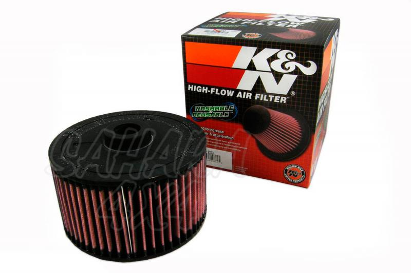 Filtro K&N Air Filter para reemplazo Toyota Land Cruiser - K&N E-2233: Alto 10.8 cm  x  diametro exterior 19.1 cm.