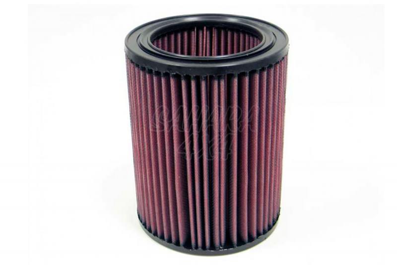 Filtro K&N Air Filter para reemplazo Isuzu Trooper 3.0 Diesel 2000-2007 - K&N E-2447: Alto 18.4 cm x diametro interior 9.8 cm x diametro exterior 14.3 cm.
