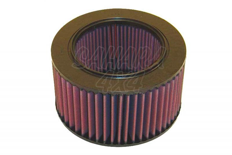 Filtro K&N Air Filter para reemplazo Suzuki Samurai 1.3 Carb(84-90), 1.3 Gasolina(90-95) - K&N E-2553: Alto 11.1 cm x diametro interior 11.7 cm x diametro exterior 18.4 cm.