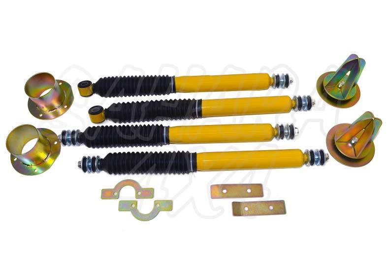 Kit de dislocación para Land Rover Defender - El Kit consta de 4 Amortiguadores, 4 dislocadores y kit montaje. Seleccione su configuración.