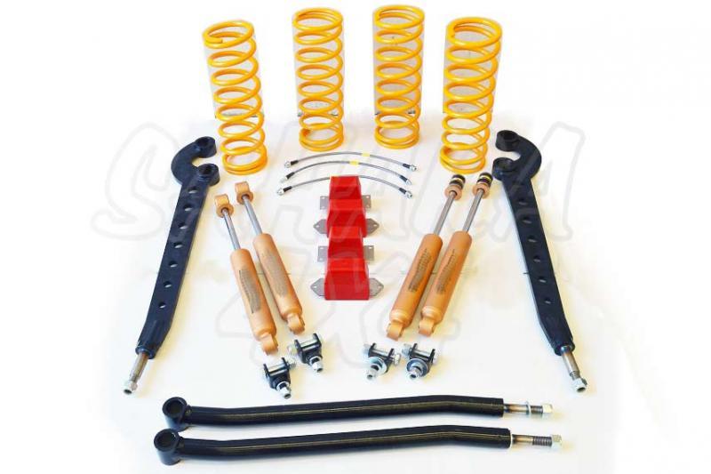 Kit de suspensión +5cm para Land Rover Defender - El Kit consta de 4 Amortiguadores, 4 Muelles, brazos de suspension y topes de compresion. Seleccione su configuración.