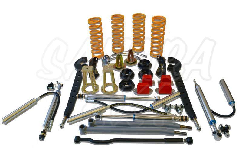 Kit de suspensión +7.5cm para Land Rover Defender - El Kit consta de 4 Amortiguadores con botella separada, 4 Muelles, brazos de suspension, etc... . Seleccione su configuración.