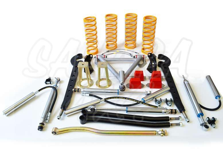 Kit de suspensión +10cm para Land Rover Defender - El Kit consta de 4 Amortiguadores con botella separada, 4 Muelles, brazos de suspension, etc... . Seleccione su configuración.