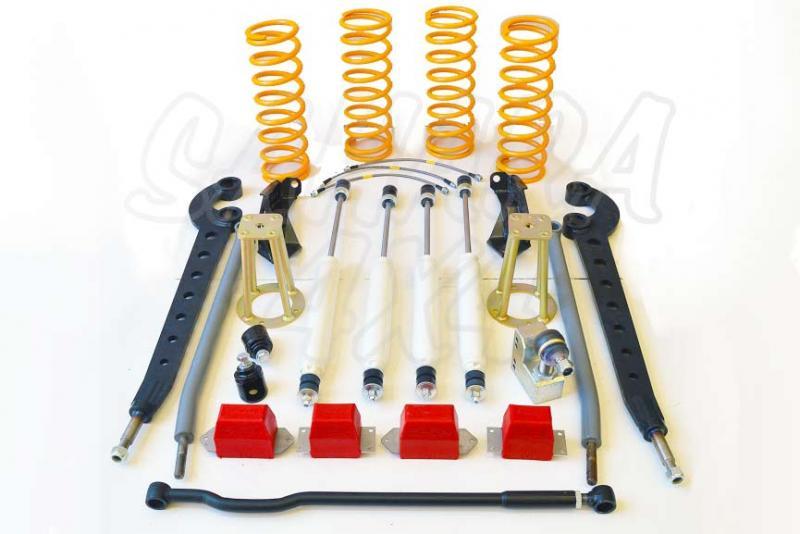 Kit de suspensión +10cm para Land Rover Defender - El Kit consta de 4 Amortiguadores procomp, 4 Muelles, brazos de suspension, etc... . Seleccione su configuración.