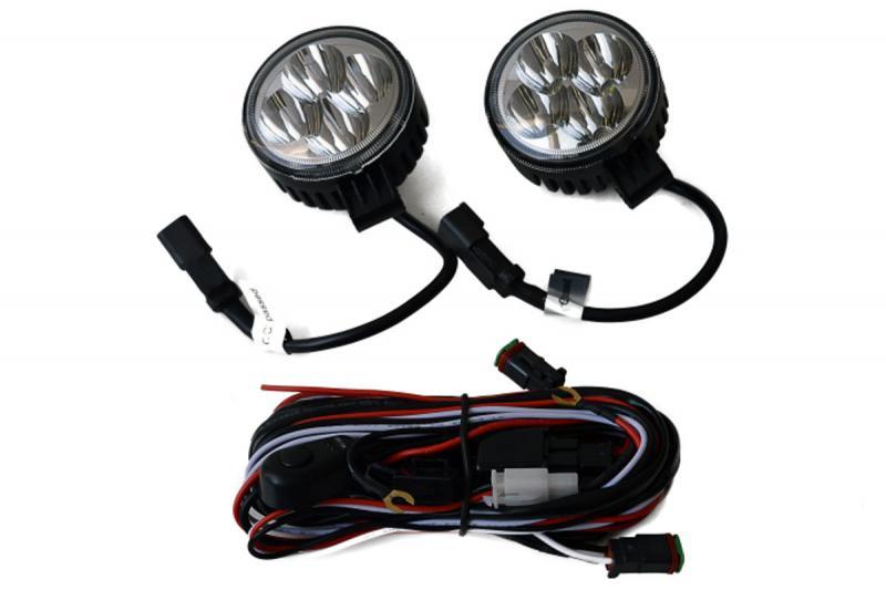 Pareja de focos LED Redondos + cableado