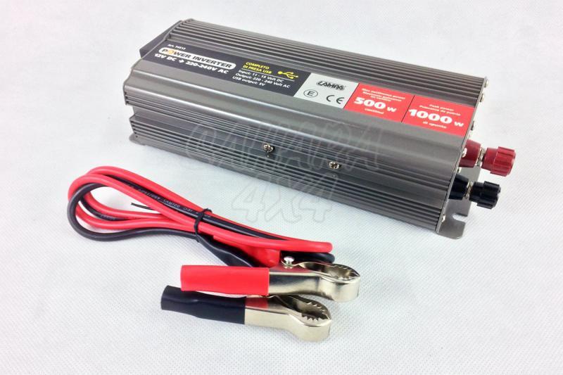 Transformador de 12v a 220v (500w continuo/1000w pico) - Transforma la corriente de 12v a 220v
