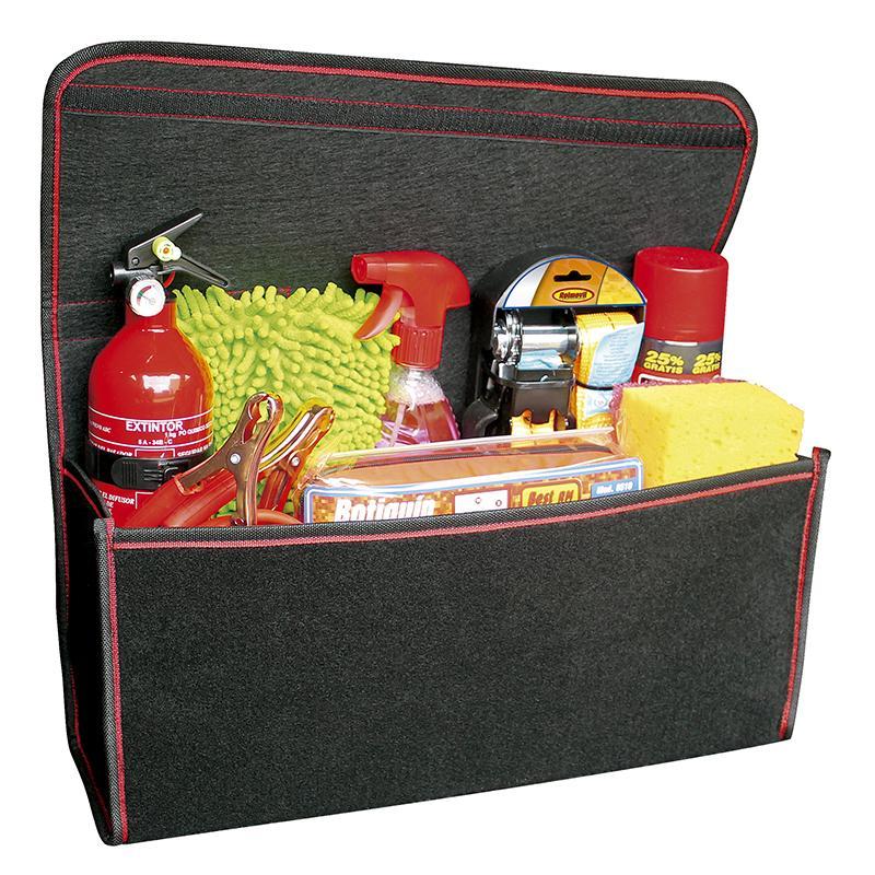 Organizador maletero en moqueta con rejilla portaobjetos -
