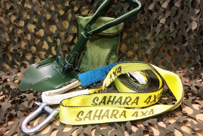 Pack de Desatasco 001 Sahara 4x4 - Incluye Eslinga 5 mts, Grillete y pala plegable con funda .