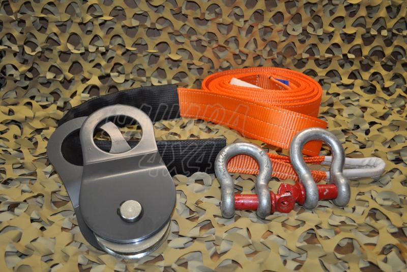 Pack de Desatasco 004 Sahara 4x4 - Incluye Eslinga 5 mts, 2 Grillete tipo lira y Polea de reenvio.
