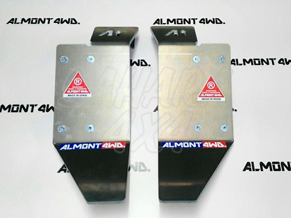 Protector de amortiguador trasero Almont para Land Rover Defender - Duraluminio H111 6 mm , Pareja