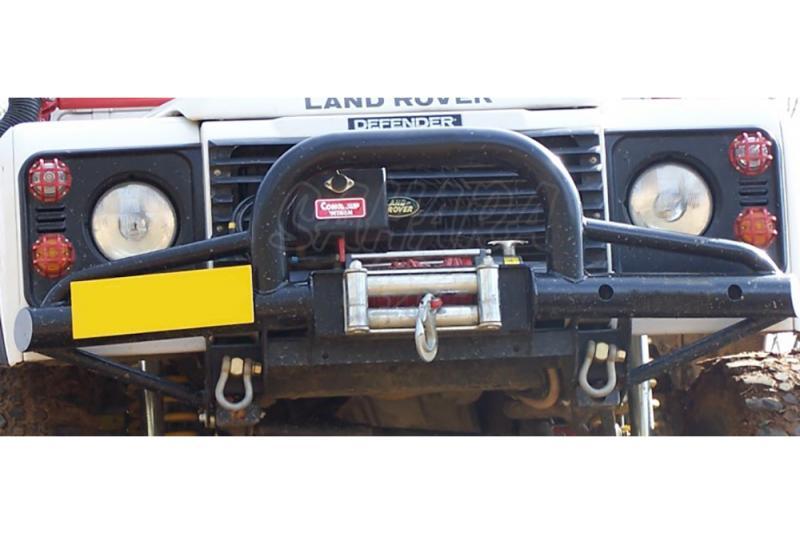Paragolpes Delantero Tubular HD con defensa Land Rover Defender, soporte Warn 8274 - Con soporte de winch para 8274 Warn