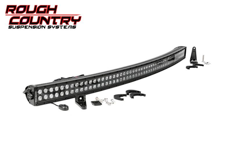Barra de Led curvada 137 cm Led Cree doble , Rough Country  - Curvada , fondo negro , 312w, 24960 Lumens