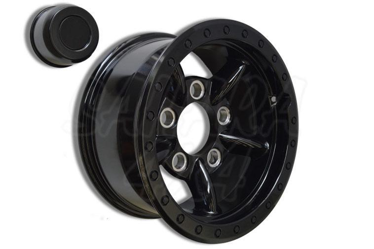 Llanta Aluminio con beadloock simulado de 5 palos  8x16 (color negro)