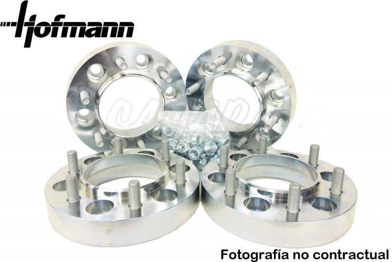 Separadores de rueda Hofmann en Acero para Ford Kuga  - Kit de 4 Separadores 5x108. Medida: Delante 24mm, Detrás 30mm.