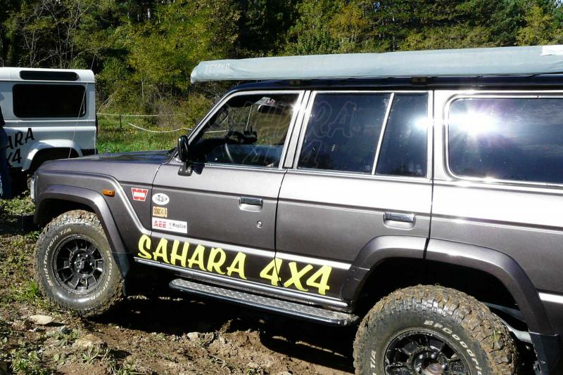 Estribos laterales negro con aluminio para Toyota 60 series - Pareja de estribos