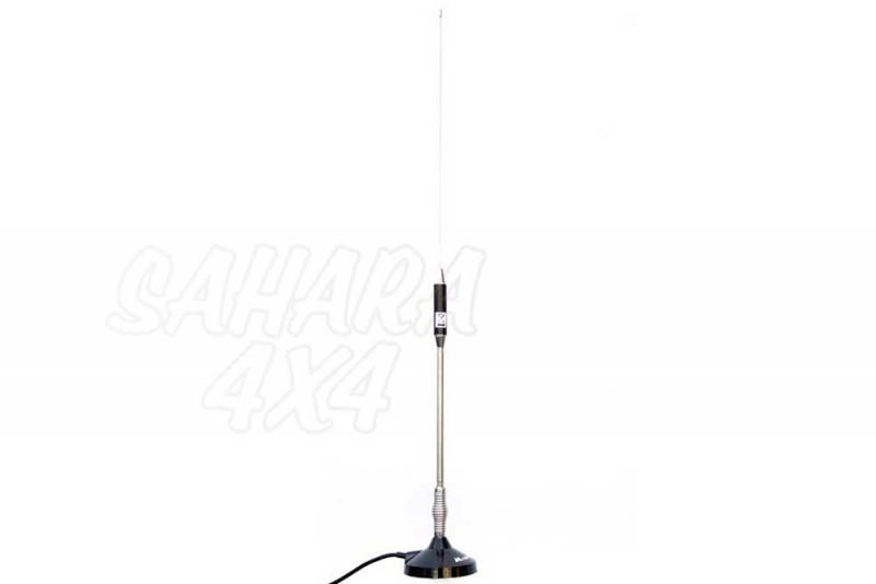 Antena móvil acero inox. ,66 cm + base magnética 90 mm - Longitud: 680 mm.