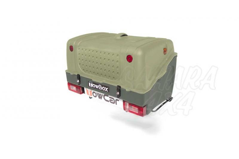 Portaequipajes TowBox V1 - TowBox V1 es un producto multifuncional pensado para el transporte de equipaje, carritos de bebé, sillas de ruedas, etc. Va colocado sobre la bola de enganche y no limita la velocidad del vehículo.