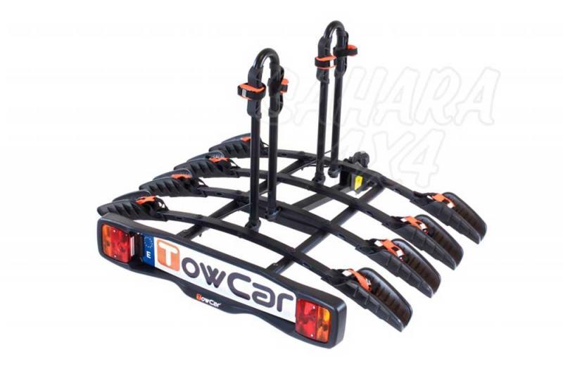 Portabicicletas sobre bola TowCar B4 - Portabicicletas para cuatro bicis que se instala en unos segundos.