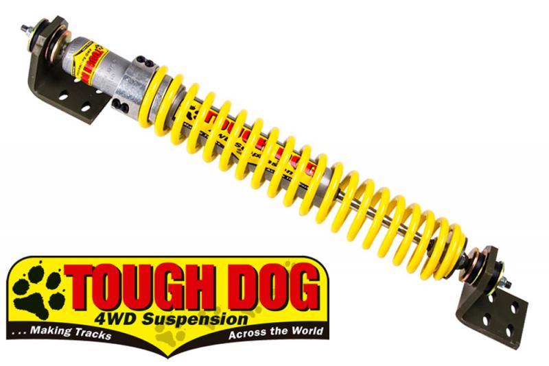 Amortiguador Direccion con Muelle Reforzado Tough Dog Land Cruiser HDJ100 - Completo , listo para montar.