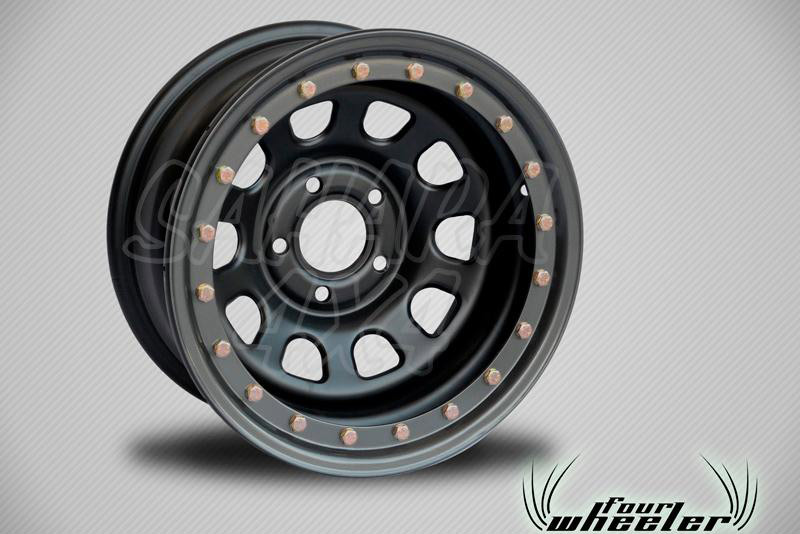 Llanta Acero Negro con Beadlock SIMULADO Hyundai Santa Fe - Four Wheeler con Beadlock SIMULADO. Medidas Disponibles: 8x15 8x16